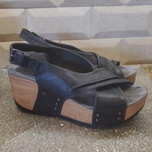 BUSSOLA Black Wedge Sandals - Size 38/ US 8